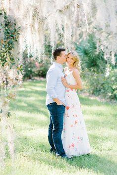 Romantic Magnolia Plantation engagement photos under Spanish Moss by Aaron and Jillian Photography!