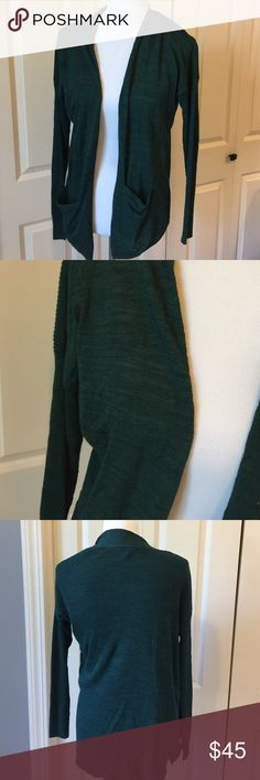 ✋FINAL WEEK✋Green open front cardigan. NWT 55% cotton 40% rayon 5% nylon LOFT Sweaters Cardigans