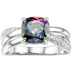 Sterling Silver Mystic Fire Topaz & Lab-Created White Sapphire... ($100) ❤ liked on Polyvore featuring jewelry, rings, purple, cushion cut topaz ring, purple topaz ring, purple ring, band rings and crisscross ring