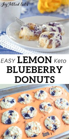 Keto Blueberry Donuts with Cream Cheese Glaze - Low Carb, Grain-Free, Gluten-Free, Sugar-Free, THM S - My Warm Lemon Blueberry Donuts with Cream Cheese Glaze are amazing. When you warm them up the icing melts down the sides. Donut Recipes, Keto Recipes, Protein Recipes, Keto Foods, Keto Snacks, Best Keto Breakfast, Breakfast Recipes, Breakfast Cookies, Breakfast Casserole
