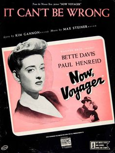 1942 Sheet Music It Can't Be Wrong Now Voyager Bette Davis Warner Brothers ZSM1