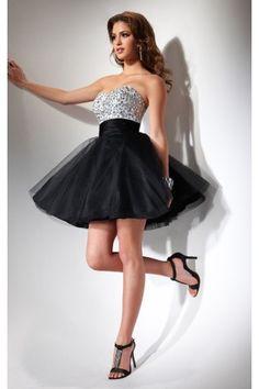 Stunning Ball Gown Sleeveless Tulle Mini Strapless Prom Dresses