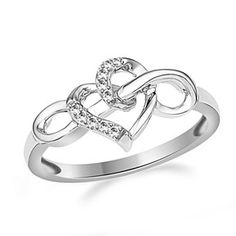 Diamonds Infinity Heart Ring 1/20 Ct Tw Sterling Silver by JewelryHub on Opensky