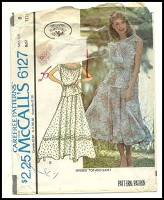 Vintage 70s Laura Ashley McCalls Pattern Peasant Boho Skirt Top Gypsy Sewing Retro Vintage Dresses, Vintage 70s, Vintage Clothing, Vintage Outfits, Mccalls Patterns, Fabric Patterns, Sewing Patterns, Laura Ashley Patterns, London Style
