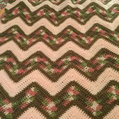 Chevron Afghan: Red Heart Yarn  Pink Camo, Cafe Latte and Baby Pink