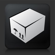 Black Square Button with Box Icon vector art illustration