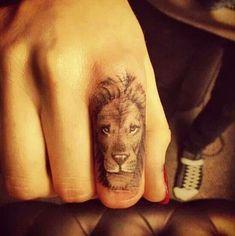 lion finger tattoo - 55+ Cute Finger Tattoos | Art and Design