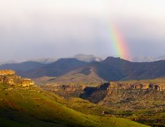 Self drive route Clarens to Fouriesburg rainbow over Maluti Mountains Free State, Monument Valley, South Africa, Grand Canyon, Around The Worlds, Country Roads, Explore, Mountains, Places