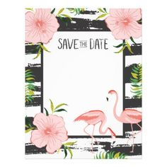 Pink Flamingo Black and White Stripe Save Date Letterhead - save the date gifts personalize diy cyo
