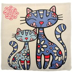 Yantu home decor cotton linen square pillowcase blue cat throw pillow sham cushion cover(no no pillow shams, yantu home decor cotton linen square Art Drawings For Kids, Easy Drawings, Silhouette Chat, Molduras Vintage, Wal Art, Cat Quilt, Blue Cats, Fabric Painting, Doodle Art