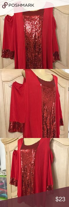 Slinky brand red blouse Red blouse with hollow on each shoulder long sleeves decorated in sequins like the front size 20     94% nylon 6 % spandex slinky brand  Tops Blouses