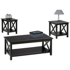 Scotford Black 3 Pc Table Set Cocktail: x x End: x x Side: x x Find affordable Table Sets for your home that will complement the rest of your furniture. Pc Table, Chair Side Table, End Tables, Occasional Tables, Large Furniture, Living Room Furniture, Black Furniture, Furniture Ideas, 3 Piece Coffee Table Set