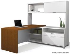 Nebraska Furniture Mart – Bestar Pro-Linea L-Shaped Kit in White and Cognac Cherry Modern L Shaped Desk, L Shaped Office Desk, Office Desk Set, Executive Office Desk, Open Office, Office Suite, Work Desk, Office Table, Office Spaces
