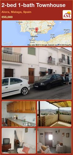 Townhouse for Sale in Alora, Malaga, Spain with 2 bedrooms, 1 bathroom - A Spanish Life Murcia, Malaga Spain, Village Houses, Double Bedroom, Seville, Living Area, Townhouse, Google, Terrace