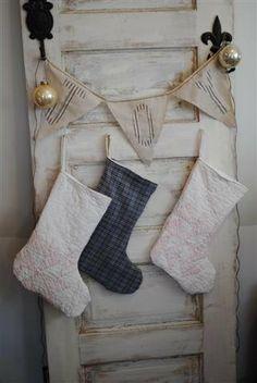 Linen Bunting JOY Shabby Cottage Christmas Decor.