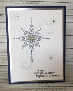 Stampin Up Star of Light Stamp set from the Stampin Up Holiday Catalog 2016-17. Kim Williams, stampinwithkjoyink.typepad.com. Pink Pineapple Paper Crafts. Starlight thinlits, quick and easy Christmas card idea. Silver and Night of Navy sparkly card.
