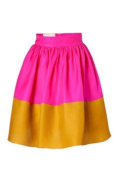 Hot Pink and Mustard Silk Organza Full Skirt from  ROKSANDA ILINCIC