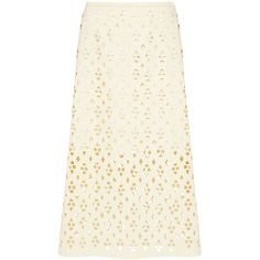 Tibi - ALEYDA CUTOUT MIDI SKIRT (300 CAD) ❤ liked on Polyvore featuring skirts, embellished skirt, lace a line skirt, midi skirts, white midi skirts and white a line skirt