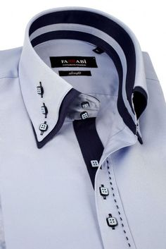 Mens Double Collar Blue Dress Shirt | Farrabi Slim Fit | Exclusive Luxury Shirts