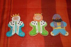 Galletas decoradas en fondant.  Reyes Magos.  Melchor Gaspar y Baltasar.