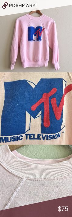 80s / Vintage MTV Bubblegum Pullover Bubblegum pink original MTV crew neck pullover. Buttery soft and lightweight! One small blemish shown in photo 3.  BRAND: - MATERIAL: 50/50 YEAR/ERA: 80s LABEL SIZE: - BEST FIT: XS/S  MEASUREMENTS: Chest 18.5 inches  Length 22 inches    I do not model or trade, sorry!  Check out my closet for more vintage!     0006 Vintage Tops Sweatshirts & Hoodies
