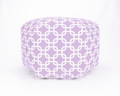 24 Inch Contemporary  Modern Floor Ottoman Pouf Pillow Lavender Lilac Wisteria and White Gotcha Chain Link. $135.00, via Etsy.