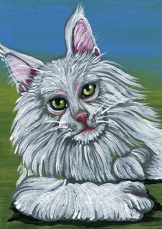 Buy ACEO ATC Original White Maine Coon Cat Pet Art-Carla Smale, Gouache painting by carla smale on Artfinder. Discover thousands of other original paintings, prints, sculptures and photography from independent artists.