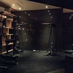 Home Gym studio complete with power rack and full commercial cable crossover #homegym