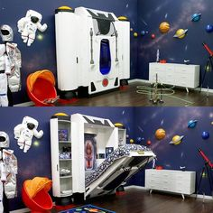 Introducing the Deepspace Defender, a spaceship themed bed that instantly turns your little astronaut's bedroom into Ground Control for the coolest extraterrestrial adventures on the block. Featuring a unique design that allows the mattress to be raised to create extra play space during the day, this bed is the stuff childhood dreams are made of. Safety is a primary concern at Fable Bedworks, so the one-hand operation bed mechanism is safe and can be used by children - you won't believe how…