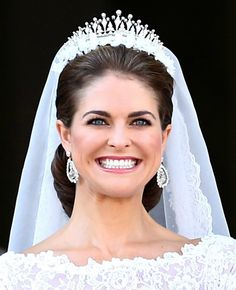 Princess Madeleine of Sweden wearing the Modern Fringe Tiara on her wedding day.