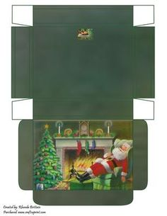 Snoozing Santa Gift Box on Craftsuprint designed by Rhonda Brittain - A gift box with Santa snoozing in front of the fire. - Now available for download!