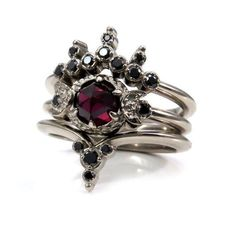 Blood Moon Gothic Engagement Ring Set Rose Cut Garnet with