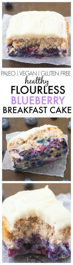 Healthy Flourless Blueberry Breakfast Cake- Light and fluffy on the inside, tender on the outside, have a guilt free dessert for breakfast- NO butter, oil, flour or sugar!   vegan, gluten free, paleo recipe