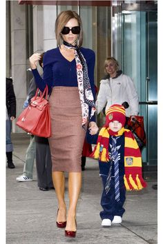 February 2008, A Marc Jacobs sweater and Roland Mouret skirt with an Hermes Birkin, New York City with son Cruz