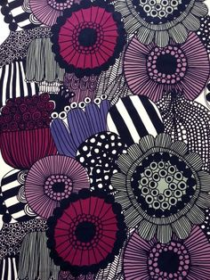 Marimekko fabric Marimekko fabric by the yard by YulkisHomeDecor Kitchen Colour Schemes, Kitchen Colors, Color Schemes, Fabric Wall Art, Purple And Black, Marimekko, Fashion Fabric, Matisse, All The Colors