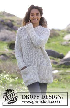 Gebreide trui met gerstekorrel en zakken. Maten S - XXXL. Het werk wordt gebreid in DROPS Air en DROPS Brushed Alpaca Silk.