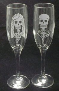 ✿ Day of the Dead Halloween Wedding Toasting Flutes Skull ✿