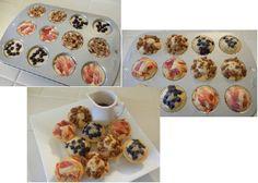 PANNENKOEK MUFFINS Maak pannenkoeken beslag, schenk het in de muffin bakplaat, voeg er extra ingrediënten aan toe, bv: fruit, chocola, spek of noten. Zet het 12-14 minuten in de oven op 175 graden. Succes verzekerd ! Eet smakelijk.