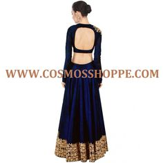 Price: Rs 2800/- (USD 45.00$)  This set features navy blue raw silk lehenga with gold dori work border along with navy blue blouse with deep back and dori work on shoulder. It also features an embroidered dupatta.  Size : Free  Color : Navy blue Fabric : Raw silk and Net Type : Dori work  Occasion : Festive, Wedding, Ceremony, Party  Neck Type : Round Neck Sleeve Type : Full Sleeve