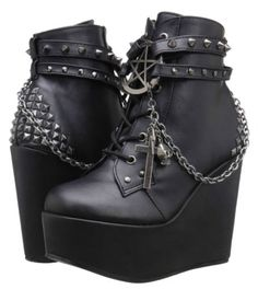 WOMENS-LADIES-DEMONIA-SEXY-GOTHIC-HORROR-WEDGE-BLACK-ANKLE-BOOTS-SIZE-UK-3-8