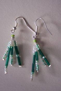 Green seed bead earrings