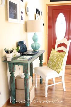 I've distressed a desk and done a blue table...but now I need a blue distressed desk.  :)