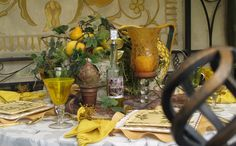 Tuscan Table Setting I D Use Diffe Color But Like The Layering Of Colors Gl And Metal