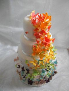 Rainbow+Butterfly+Wedding+Cake