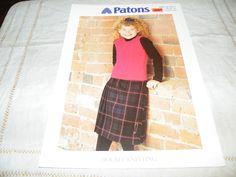"""KNITTING PATTERN, GIRLS SLIPOVER, DK, 20-34"""", PATONS 2013   eBay"""