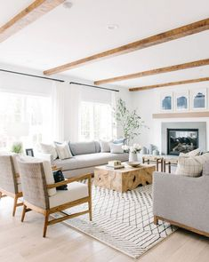 Coastal Living Rooms, Home Living Room, Living Room Designs, Living Room Decor, White Living Rooms, White Family Rooms, Young House Love Living Room, Gray Couch Living Room, Cream And White Living Room
