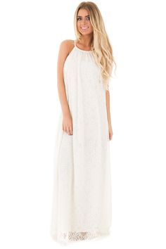 Lime Lush Boutique - Ivory Lace Halter Maxi Dress, $44.99 (https://www.limelush.com/ivory-lace-halter-maxi-dress/)