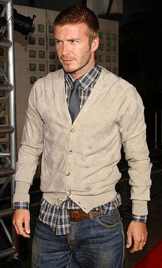 Plaid shirt combined with cardigan & tie, dark jeans to complete the effortless look