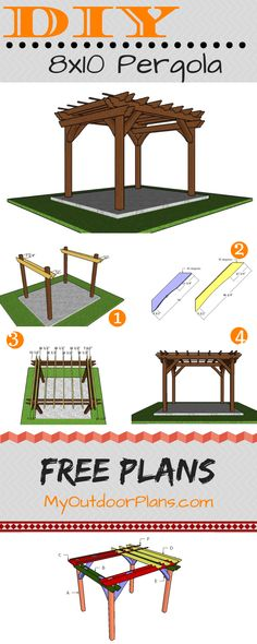 This step by step diy project is about pergola plans. If you need a small shaded area in the garden, I have got you covered with free plans and step by step instructions. This pergola is buit on a super sturdy structure. Pergola Diy, Small Pergola, Wooden Pergola, How To Build Pergola, Free Pergola Plans, Building A Pergola, Pergola Swing, Cheap Pergola, The Plan