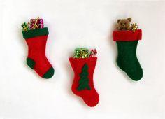Felt Christmas Stockings with Presents - Set of 3 Christmas Ornaments by Barbara C's Seasonal Creations, $8.50 USD